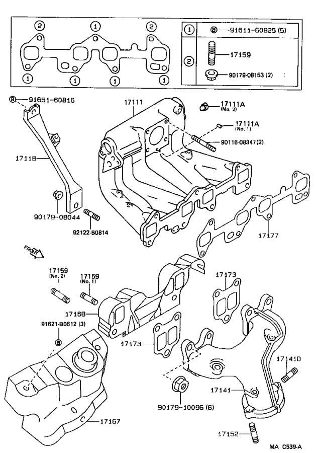 Toyota Tercel Bolt  Stud For Manifold To Cylinder Head